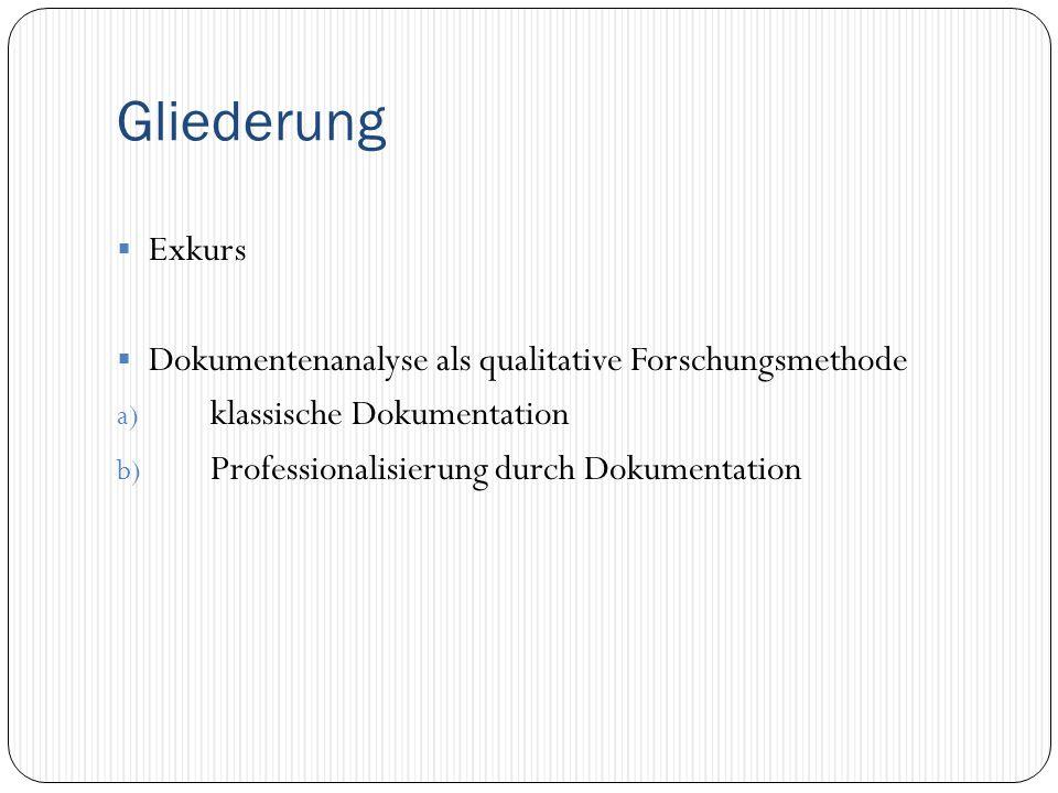 Gliederung  Exkurs  Dokumentenanalyse als qualitative Forschungsmethode a) klassische Dokumentation b) Professionalisierung durch Dokumentation