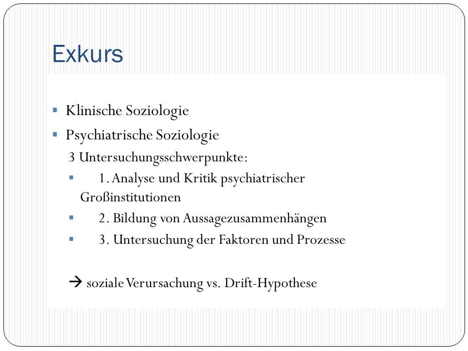 Exkurs  Klinische Soziologie  Psychiatrische Soziologie 3 Untersuchungsschwerpunkte:  1. Analyse und Kritik psychiatrischer Großinstitutionen  2.
