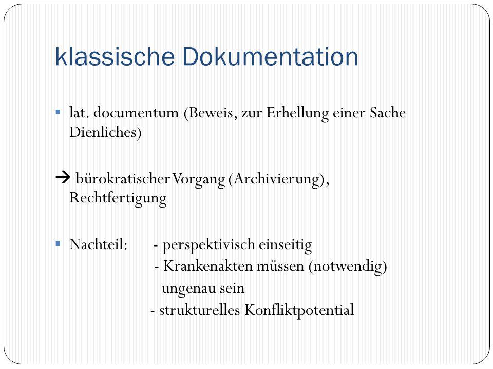 klassische Dokumentation  lat. documentum (Beweis, zur Erhellung einer Sache Dienliches)  bürokratischer Vorgang (Archivierung), Rechtfertigung  Na