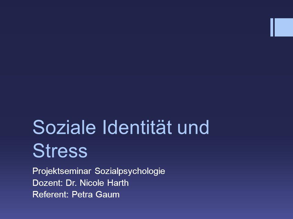 Soziale Identität und Stress Projektseminar Sozialpsychologie Dozent: Dr. Nicole Harth Referent: Petra Gaum