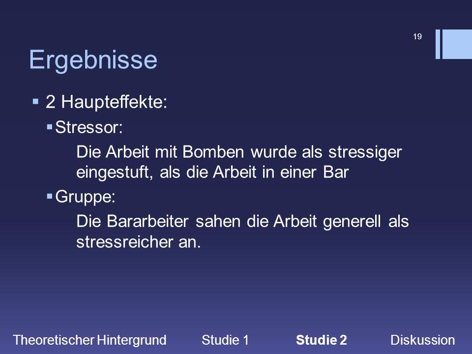 19 Ergebnisse Theoretischer Hintergrund Studie 1Studie 2 Diskussion  2 Haupteffekte:  Stressor: Die Arbeit mit Bomben wurde als stressiger eingestuf