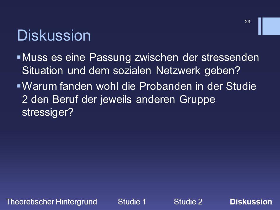 23 Diskussion  Muss es eine Passung zwischen der stressenden Situation und dem sozialen Netzwerk geben?  Warum fanden wohl die Probanden in der Stud