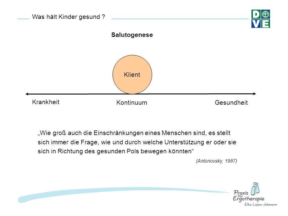 Kohärenzsinn Der Kohärenzsinn versteht sich als eine globale Orientierung, die das Ausmaß eines umfassenden, dauerhaften und gleichzeitig dynamischen Vertrauens darin ausdrückt, dass: -die Stimuli aus der äußeren und inneren Umgebung im Laufe des Lebens strukturiert, vorhersehbar und erklärbar sind (Verstehbarkeit) -die Ressourcen verfügbar sind, um den Anforderungen gerecht zu werden (Handhabbarkeit) -Diese Anforderungen Herausforderungen sind, die ein inneres und äußeres Engagement lohnen (Sinnhaftigkeit) (Antonovsky, 1991)