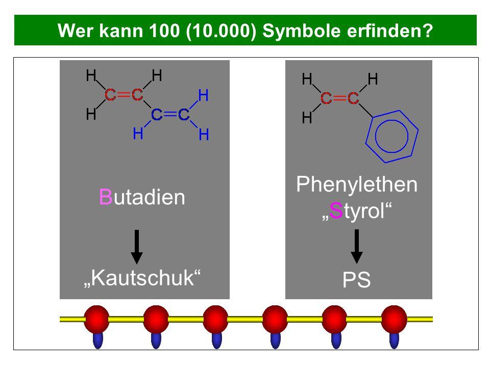 """Wer kann 100 (10.000) Symbole erfinden? Butadien """"Kautschuk"""" Phenylethen """"Styrol"""" PS"""