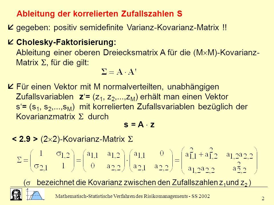Mathematisch-Statistische Verfahren des Risikomanagements - SS 2002 3  Sukzessive Ableitung der Matrix A:  korrelierte Zufallszahlen