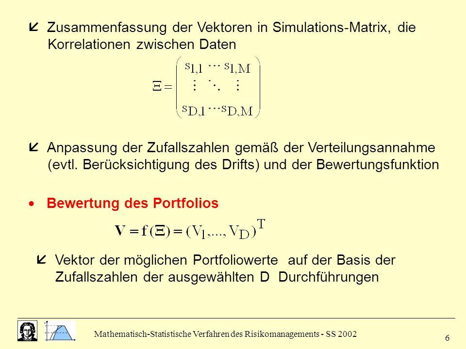 Mathematisch-Statistische Verfahren des Risikomanagements - SS 2002 7  Berechnung des Value at Risk (vgl.