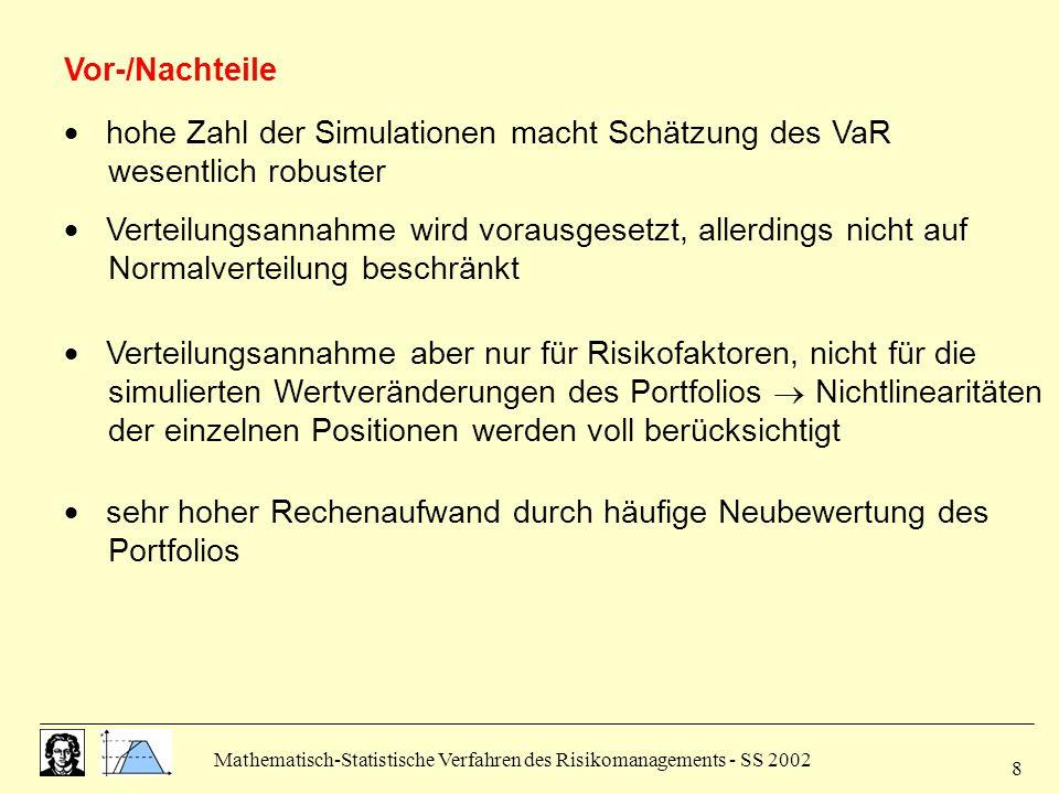 Mathematisch-Statistische Verfahren des Risikomanagements - SS 2002 9 2.6 Vergleich der VaR-Methoden