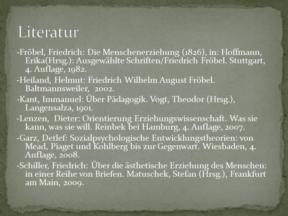 -Fröbel, Friedrich: Die Menschenerziehung (1826), in: Hoffmann, Erika(Hrsg.): Ausgewählte Schriften/Friedrich Fröbel. Stuttgart, 4. Auflage, 1982. -He