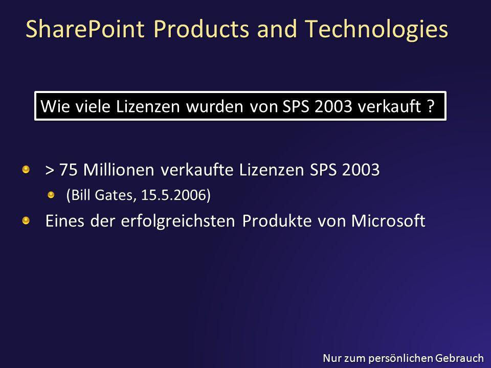 Nur zum persönlichen Gebrauch SharePoint Products and Technologies > 75 Millionen verkaufte Lizenzen SPS 2003 (Bill Gates, 15.5.2006) Eines der erfolg