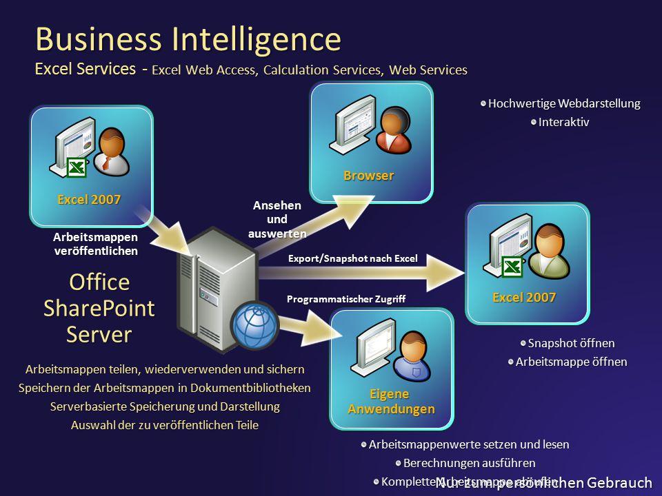 Nur zum persönlichen Gebrauch Excel 2007 Browser Ansehen und auswerten Eigene Anwendungen Programmatischer Zugriff Excel 2007 Export/Snapshot nach Exc