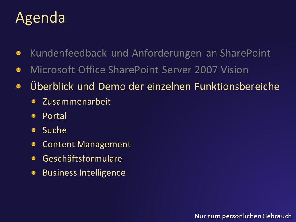 Nur zum persönlichen Gebrauch Agenda Kundenfeedback und Anforderungen an SharePoint Microsoft Office SharePoint Server 2007 Vision Überblick und Demo