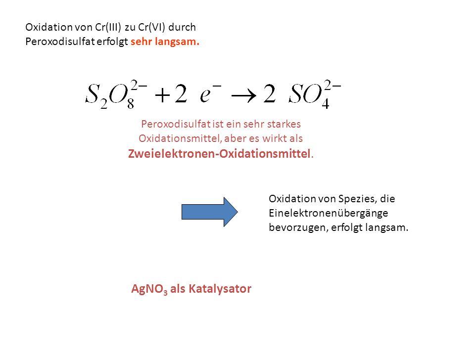 Oxidation von Cr(III) zu Cr(VI) durch Peroxodisulfat erfolgt sehr langsam.