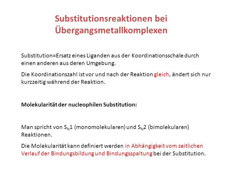 Substitutionsreaktionen bei Übergangsmetallkomplexen Substitution=Ersatz eines Liganden aus der Koordinationsschale durch einen anderen aus deren Umgebung.