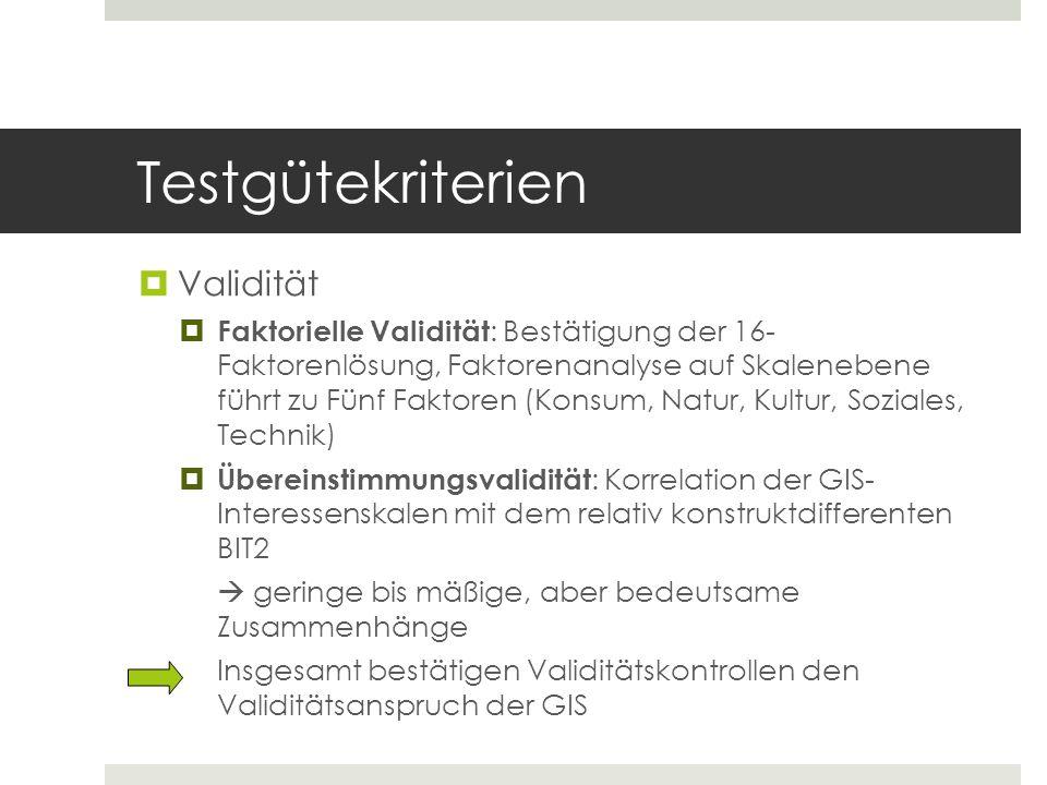Testgütekriterien  Validität  Faktorielle Validität : Bestätigung der 16- Faktorenlösung, Faktorenanalyse auf Skalenebene führt zu Fünf Faktoren (Ko