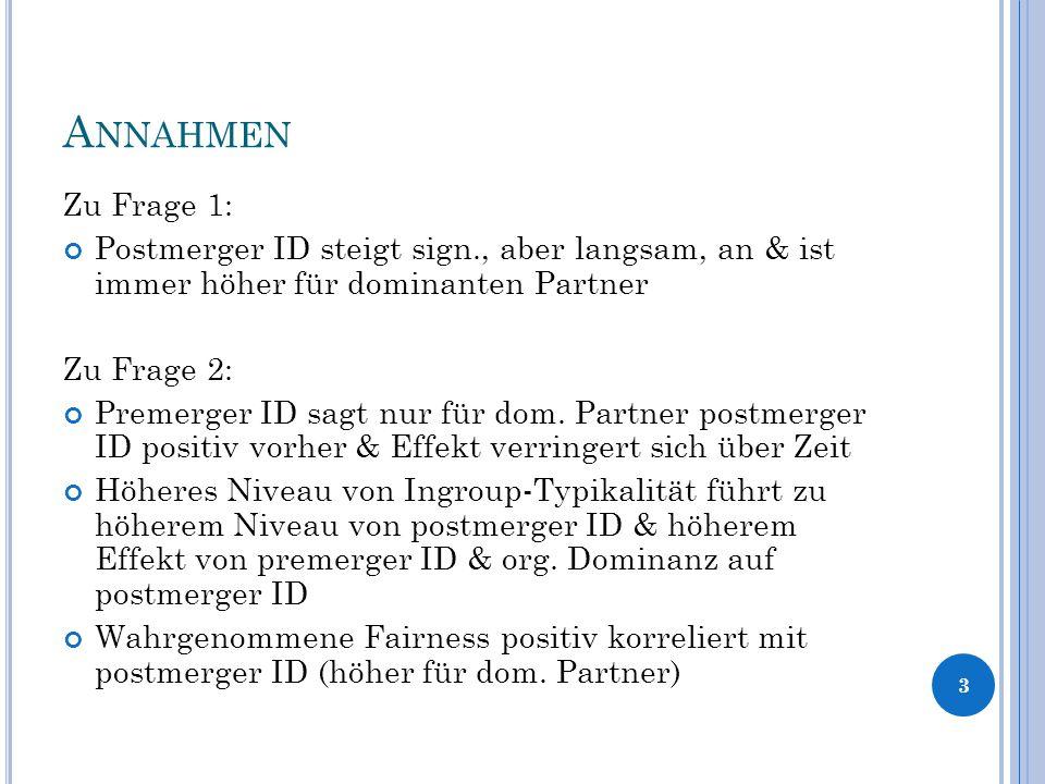 A NNAHMEN Zu Frage 1: Postmerger ID steigt sign., aber langsam, an & ist immer höher für dominanten Partner Zu Frage 2: Premerger ID sagt nur für dom.