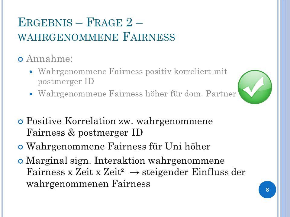 E RGEBNIS – F RAGE 2 – WAHRGENOMMENE F AIRNESS Annahme: Wahrgenommene Fairness positiv korreliert mit postmerger ID Wahrgenommene Fairness höher für dom.