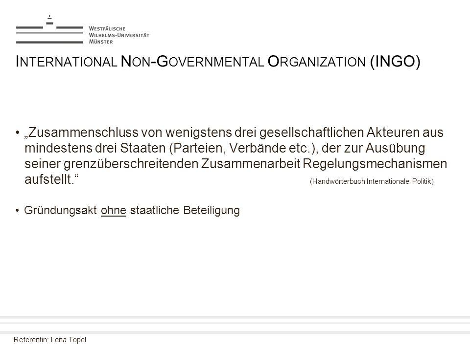 """Referentin: Lena Topel I NTERNATIONAL N ON -G OVERNMENTAL O RGANIZATION (INGO) """"Zusammenschluss von wenigstens drei gesellschaftlichen Akteuren aus mi"""
