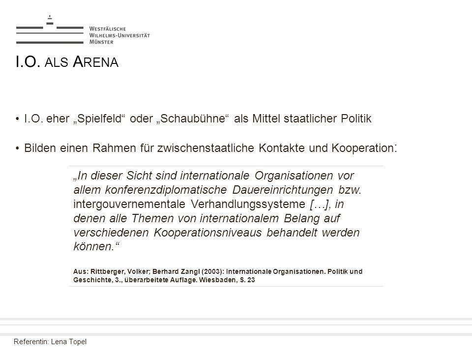 """Referentin: Lena Topel I.O. ALS A RENA I.O. eher """"Spielfeld"""" oder """"Schaubühne"""" als Mittel staatlicher Politik Bilden einen Rahmen für zwischenstaatlic"""