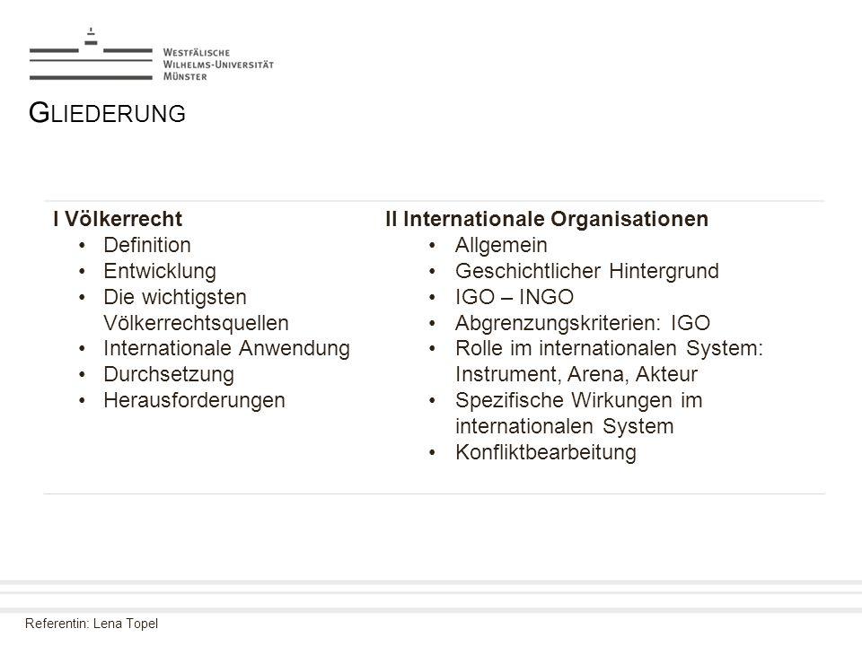 Referentin: Lena Topel G LIEDERUNG I Völkerrecht Definition Entwicklung Die wichtigsten Völkerrechtsquellen Internationale Anwendung Durchsetzung Hera