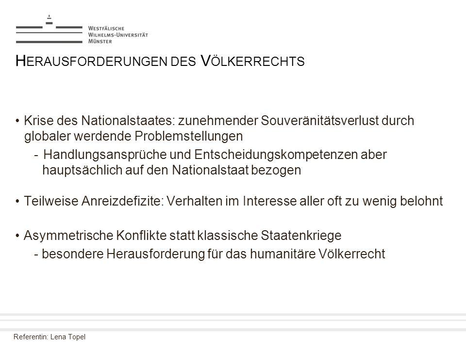 Referentin: Lena Topel H ERAUSFORDERUNGEN DES V ÖLKERRECHTS Krise des Nationalstaates: zunehmender Souveränitätsverlust durch globaler werdende Proble