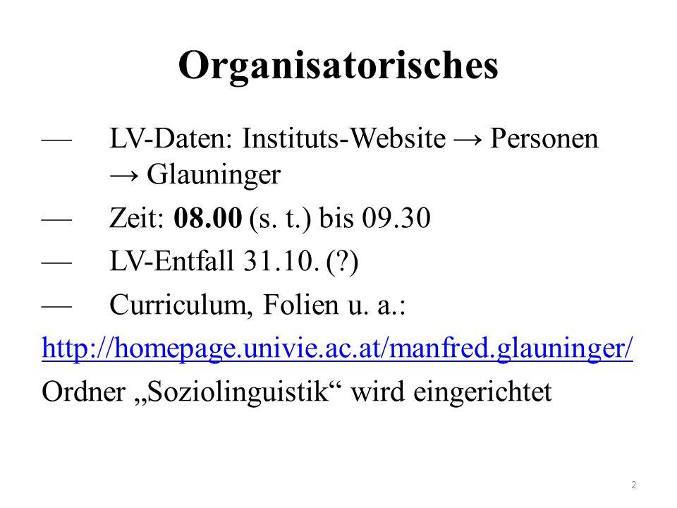 Organisatorisches —LV-Daten: Instituts-Website → Personen → Glauninger —Zeit: 08.00 (s. t.) bis 09.30 —LV-Entfall 31.10. (?) —Curriculum, Folien u. a.