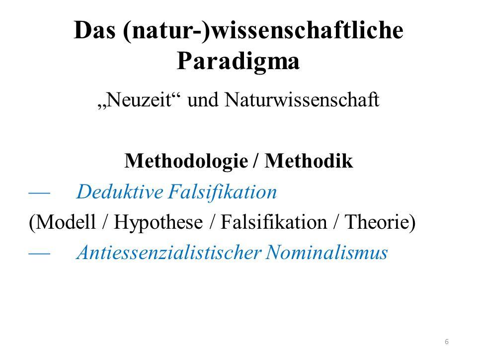 """Das (natur-)wissenschaftliche Paradigma """"Neuzeit"""" und Naturwissenschaft Methodologie / Methodik —Deduktive Falsifikation (Modell / Hypothese / Falsifi"""