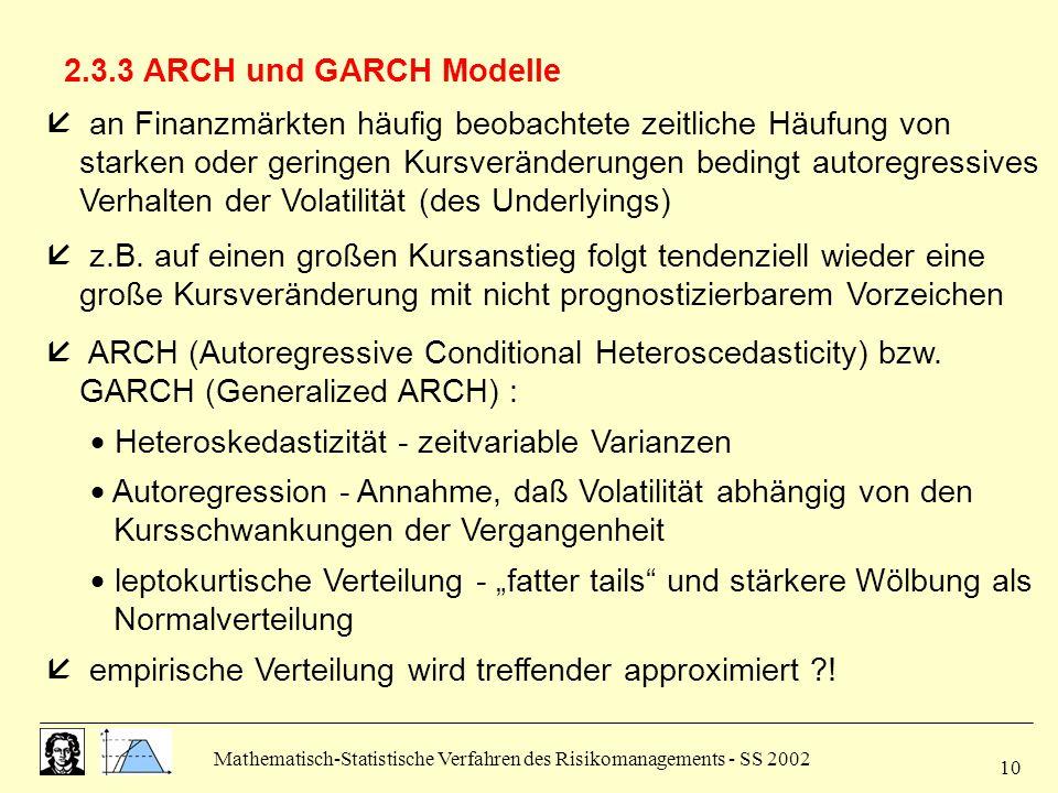 Mathematisch-Statistische Verfahren des Risikomanagements - SS 2002 10 2.3.3 ARCH und GARCH Modelle  an Finanzmärkten häufig beobachtete zeitliche Hä