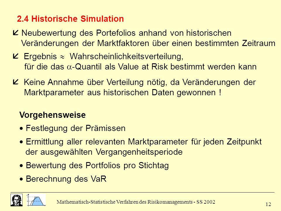 Mathematisch-Statistische Verfahren des Risikomanagements - SS 2002 12 2.4 Historische Simulation  Neubewertung des Portefolios anhand von historisch