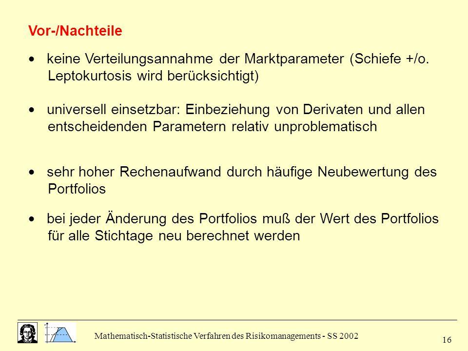 Mathematisch-Statistische Verfahren des Risikomanagements - SS 2002 16  keine Verteilungsannahme der Marktparameter (Schiefe +/o. Leptokurtosis wird