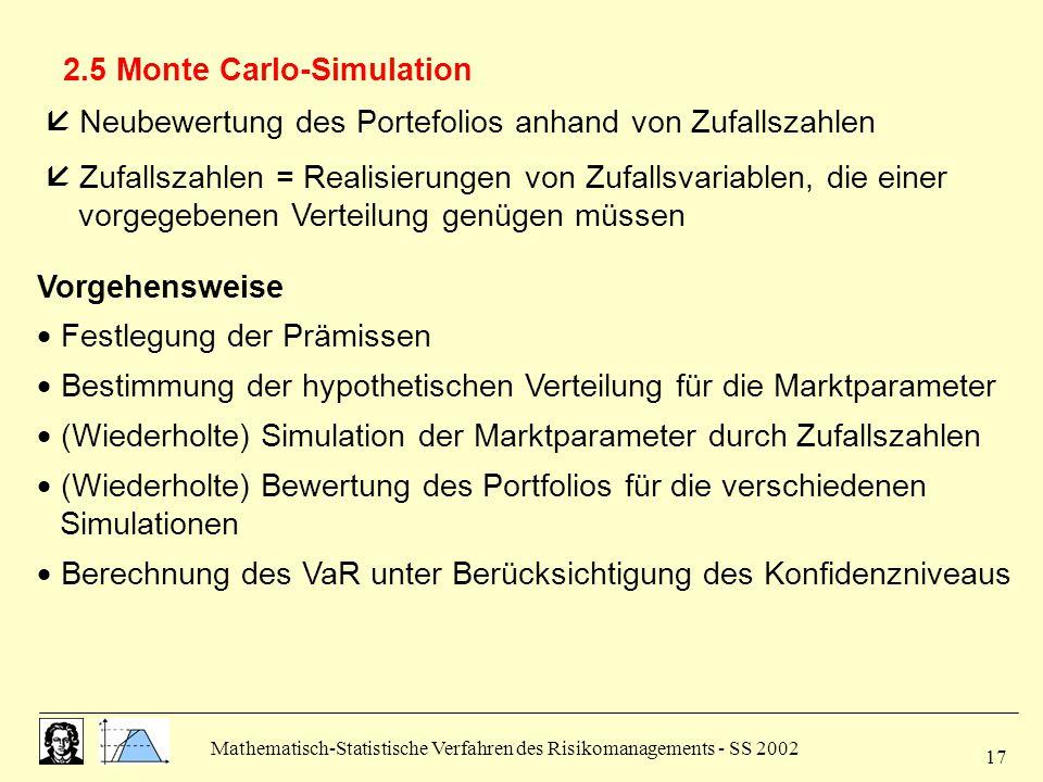 Mathematisch-Statistische Verfahren des Risikomanagements - SS 2002 17 2.5 Monte Carlo-Simulation  Neubewertung des Portefolios anhand von Zufallszah