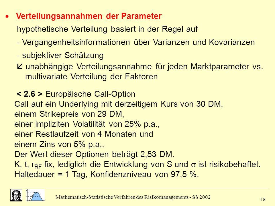 Mathematisch-Statistische Verfahren des Risikomanagements - SS 2002 18  Verteilungsannahmen der Parameter hypothetische Verteilung basiert in der Reg