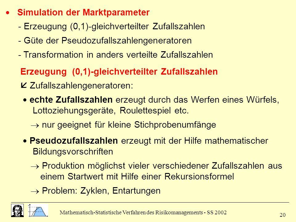 Mathematisch-Statistische Verfahren des Risikomanagements - SS 2002 20  Simulation der Marktparameter - Erzeugung (0,1)-gleichverteilter Zufallszahle