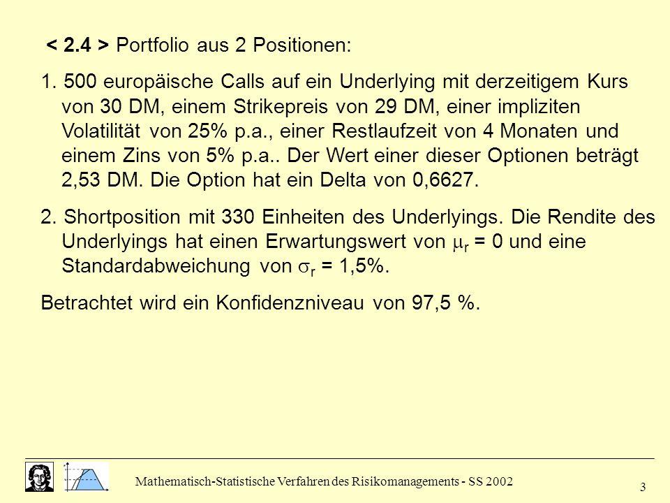 Mathematisch-Statistische Verfahren des Risikomanagements - SS 2002 3 Portfolio aus 2 Positionen: 1. 500 europäische Calls auf ein Underlying mit derz