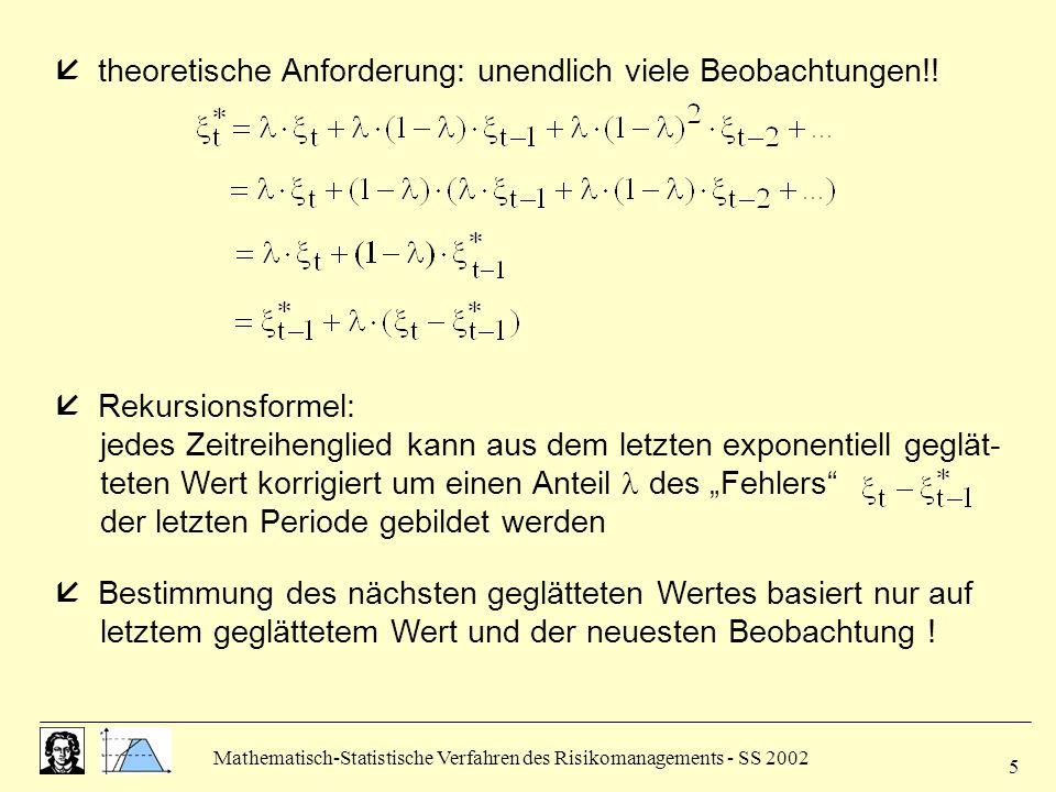 Mathematisch-Statistische Verfahren des Risikomanagements - SS 2002 5  theoretische Anforderung: unendlich viele Beobachtungen!!  Rekursionsformel: