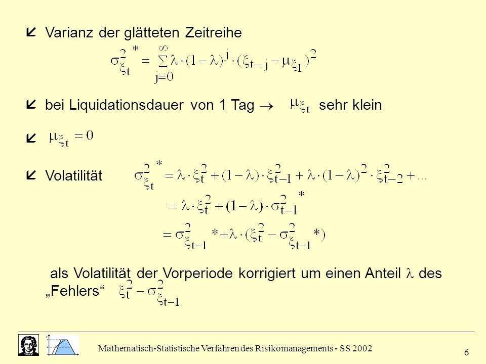 Mathematisch-Statistische Verfahren des Risikomanagements - SS 2002 6  Varianz der glätteten Zeitreihe  bei Liquidationsdauer von 1 Tag  sehr klein