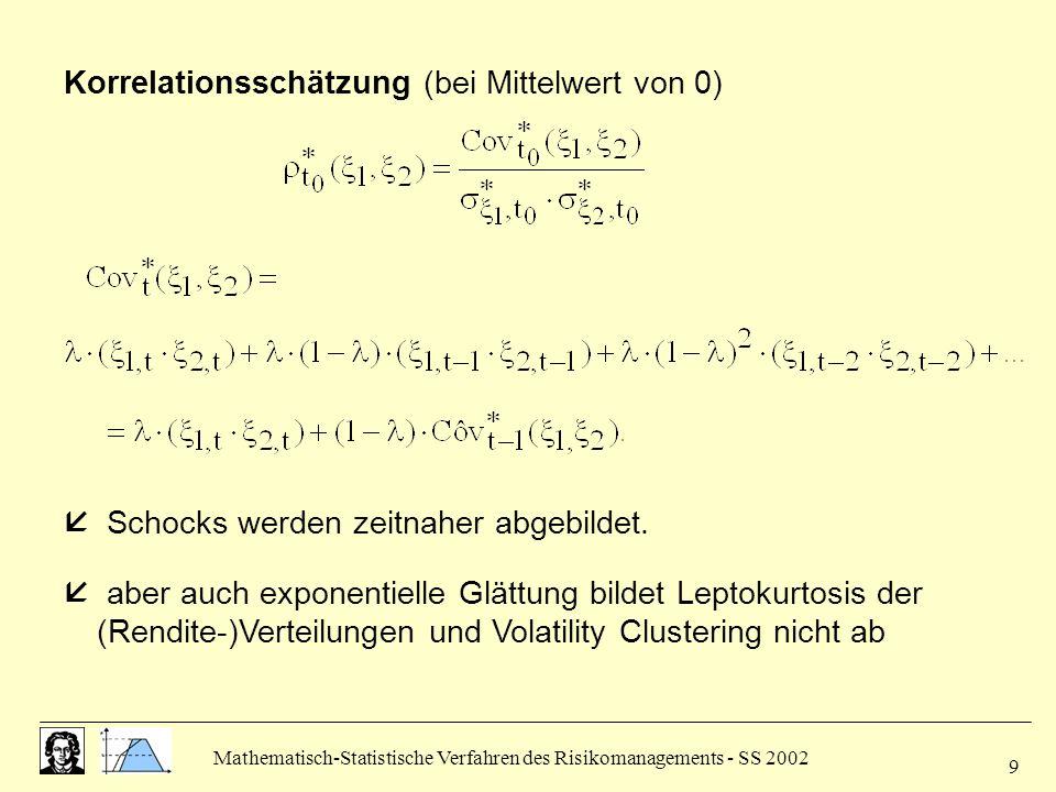Mathematisch-Statistische Verfahren des Risikomanagements - SS 2002 9 Korrelationsschätzung (bei Mittelwert von 0)  Schocks werden zeitnaher abgebild