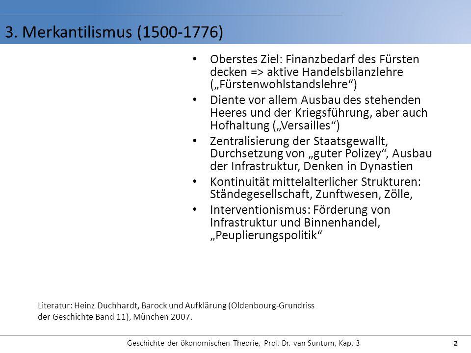 3. Merkantilismus (1500-1776) Geschichte der ökonomischen Theorie, Prof. Dr. van Suntum, Kap. 3 2 Oberstes Ziel: Finanzbedarf des Fürsten decken => ak