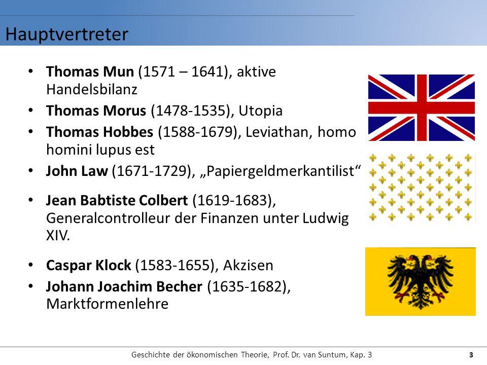 Hauptvertreter Geschichte der ökonomischen Theorie, Prof. Dr. van Suntum, Kap. 3 3 Thomas Mun (1571 – 1641), aktive Handelsbilanz Thomas Morus (1478-1