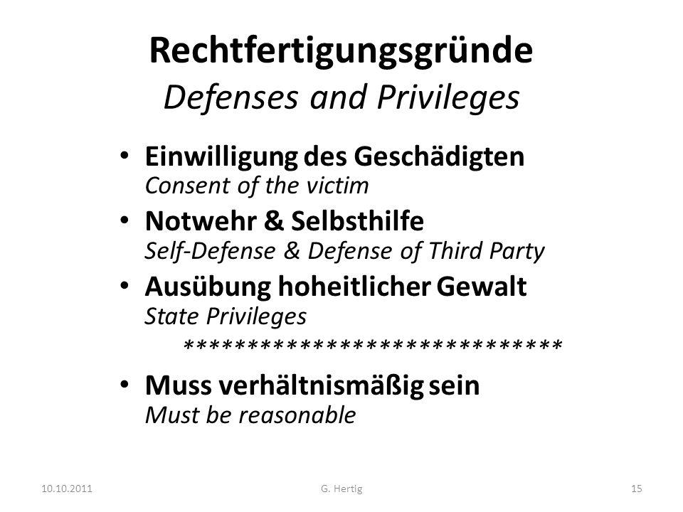 10.10.2011 Rechtfertigungsgründe Defenses and Privileges Einwilligung des Geschädigten Consent of the victim Notwehr & Selbsthilfe Self-Defense & Defe