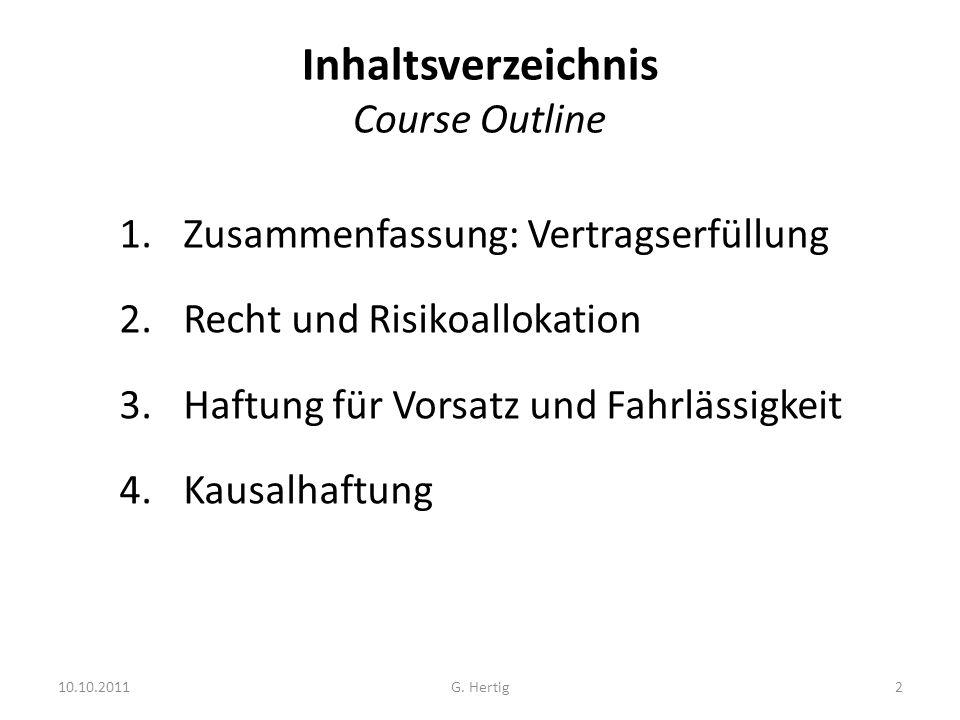 Inhaltsverzeichnis Course Outline 1.Zusammenfassung: Vertragserfüllung 2.Recht und Risikoallokation 3.Haftung für Vorsatz und Fahrlässigkeit 4.Kausalhaftung 10.10.20112G.