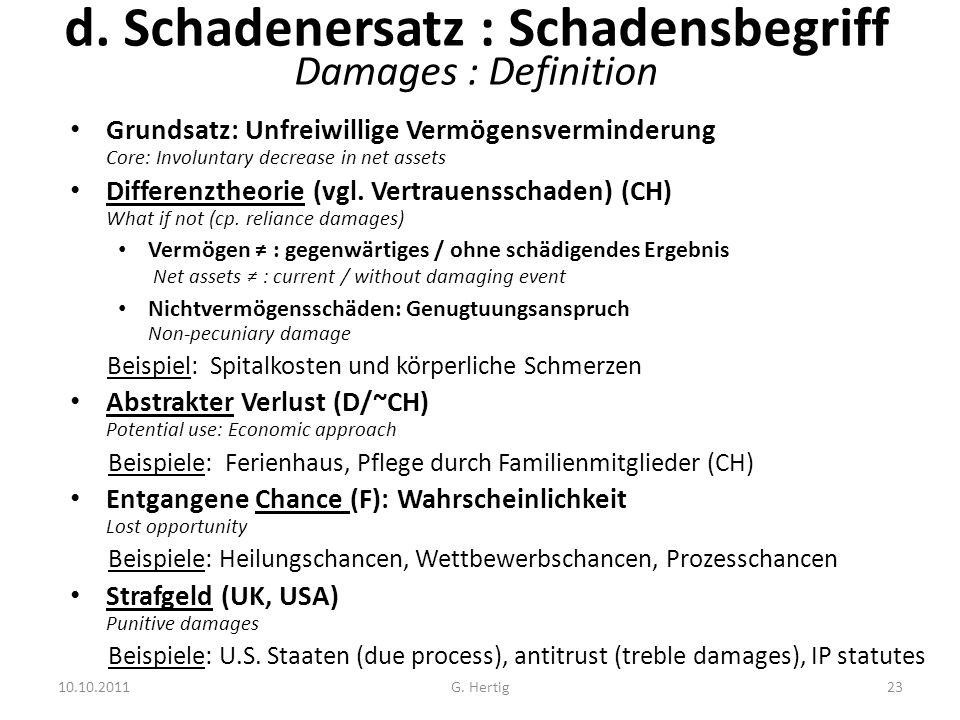 10.10.2011 d. Schadenersatz : Schadensbegriff Damages : Definition Grundsatz: Unfreiwillige Vermögensverminderung Core: Involuntary decrease in net as