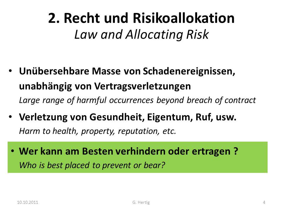 10.10.2011 2. Recht und Risikoallokation Law and Allocating Risk Unübersehbare Masse von Schadenereignissen, unabhängig von Vertragsverletzungen Large
