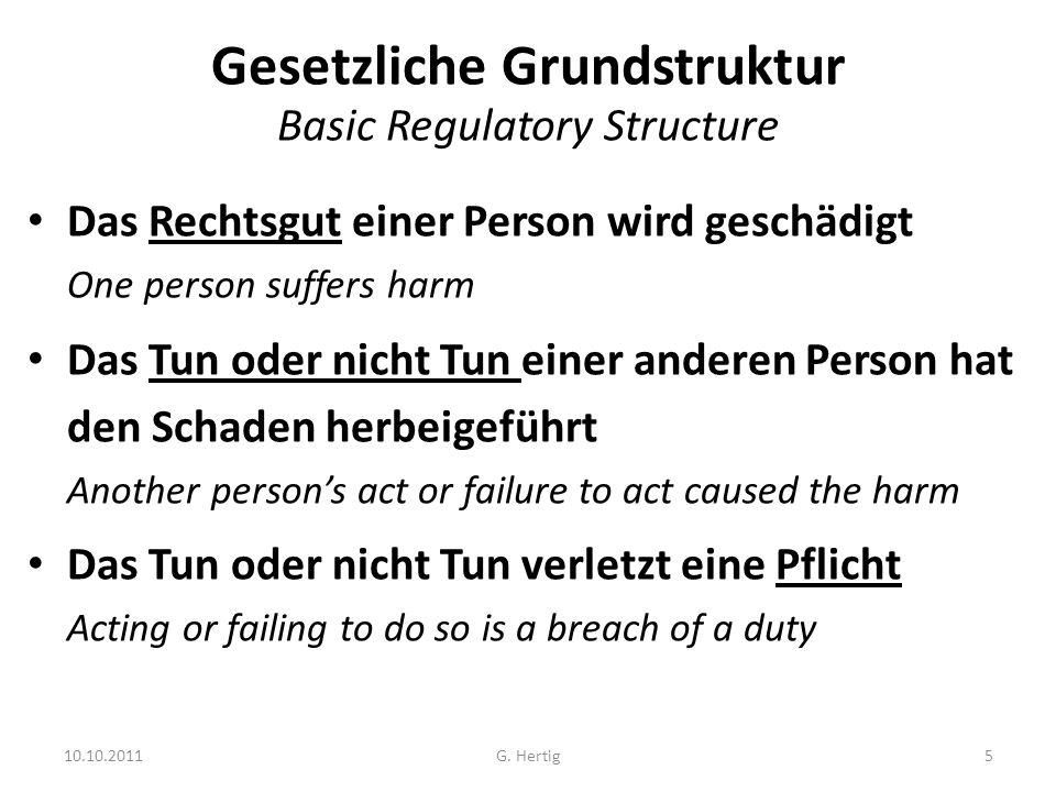 10.10.2011 Gesetzliche Grundstruktur Basic Regulatory Structure Das Rechtsgut einer Person wird geschädigt One person suffers harm Das Tun oder nicht