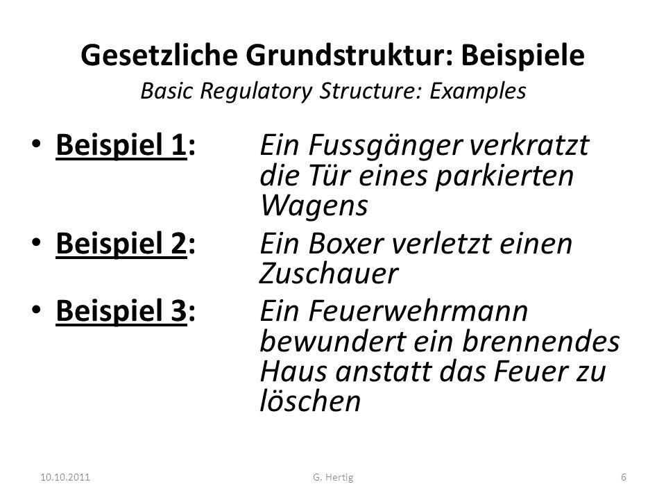 10.10.2011 Gesetzliche Grundstruktur: Beispiele Basic Regulatory Structure: Examples Beispiel 1: Ein Fussgänger verkratzt die Tür eines parkierten Wag
