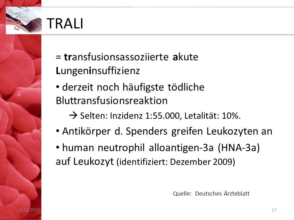 TRALI = transfusionsassoziierte akute Lungeninsuffizienz derzeit noch häufigste tödliche Bluttransfusionsreaktion  Selten: Inzidenz 1:55.000, Letalit