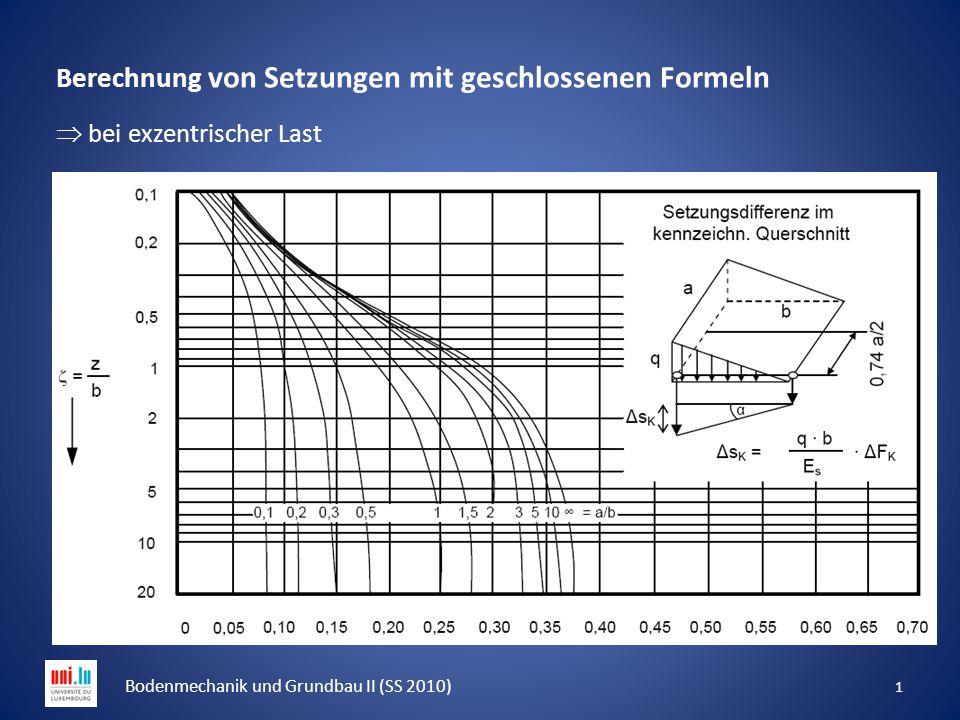 Berechnung von Setzungen mit geschlossenen Formeln  bei exzentrischer Last 1 Bodenmechanik und Grundbau II (SS 2010)