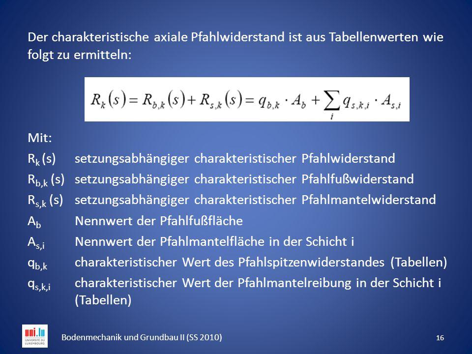 Der charakteristische axiale Pfahlwiderstand ist aus Tabellenwerten wie folgt zu ermitteln: Mit: R k (s) setzungsabhängiger charakteristischer Pfahlwi