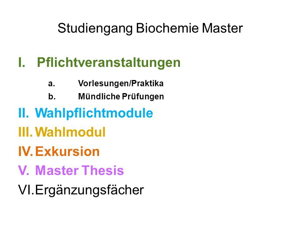 Studiengang Biochemie Master I.Pflichtveranstaltungen a.Vorlesungen/Praktika b.Mündliche Prüfungen II.Wahlpflichtmodule III.Wahlmodul IV.Exkursion V.Master Thesis VI.Ergänzungsfächer