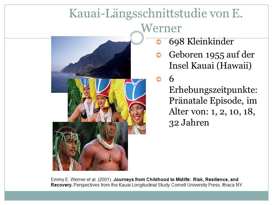 Kauai-Längsschnittstudie von E. Werner ➲ 698 Kleinkinder ➲ Geboren 1955 auf der Insel Kauai (Hawaii) ➲ 6 Erhebungszeitpunkte: Pränatale Episode, im Al