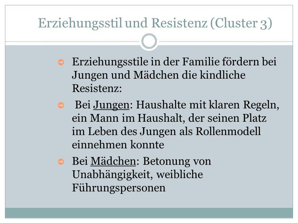 Erziehungsstil und Resistenz (Cluster 3) ➲ Erziehungsstile in der Familie fördern bei Jungen und Mädchen die kindliche Resistenz: ➲ Bei Jungen: Hausha